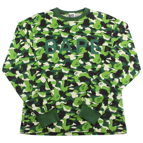 bape abc green camo text ls - SaruGeneral