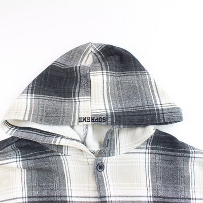 supreme x nike black white hooded flannel 2018 - SaruGeneral