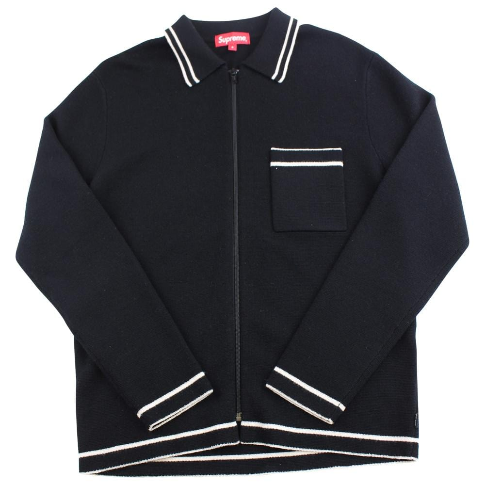 supreme black white wool zip polo ls - SaruGeneral