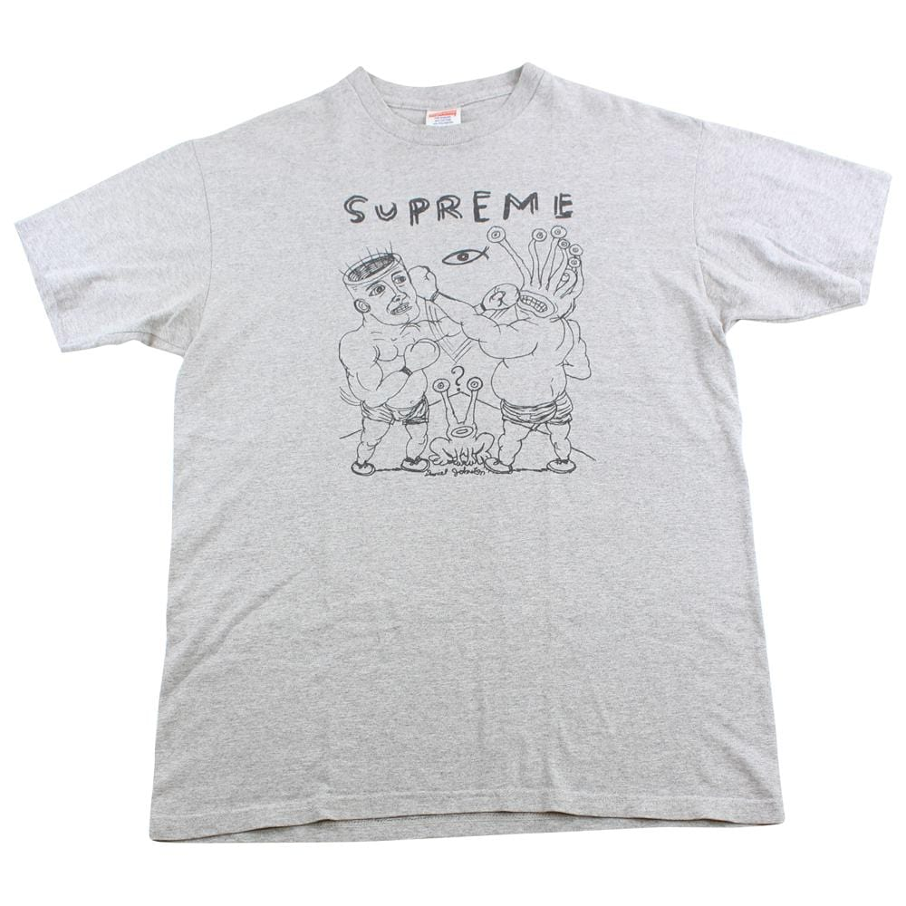 supreme x daniel johnston fight tee grey 2012 - SaruGeneral