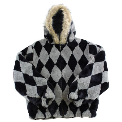 supreme diamond faux fur check jacket AW2018 - SaruGeneral