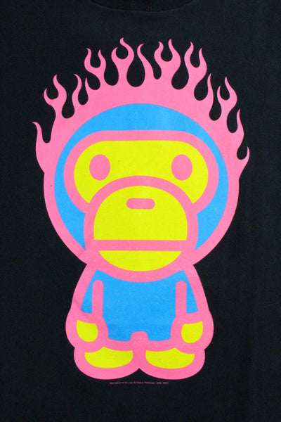 Bape Baby Milo Pink Flaming Head Tee Black - SaruGeneral
