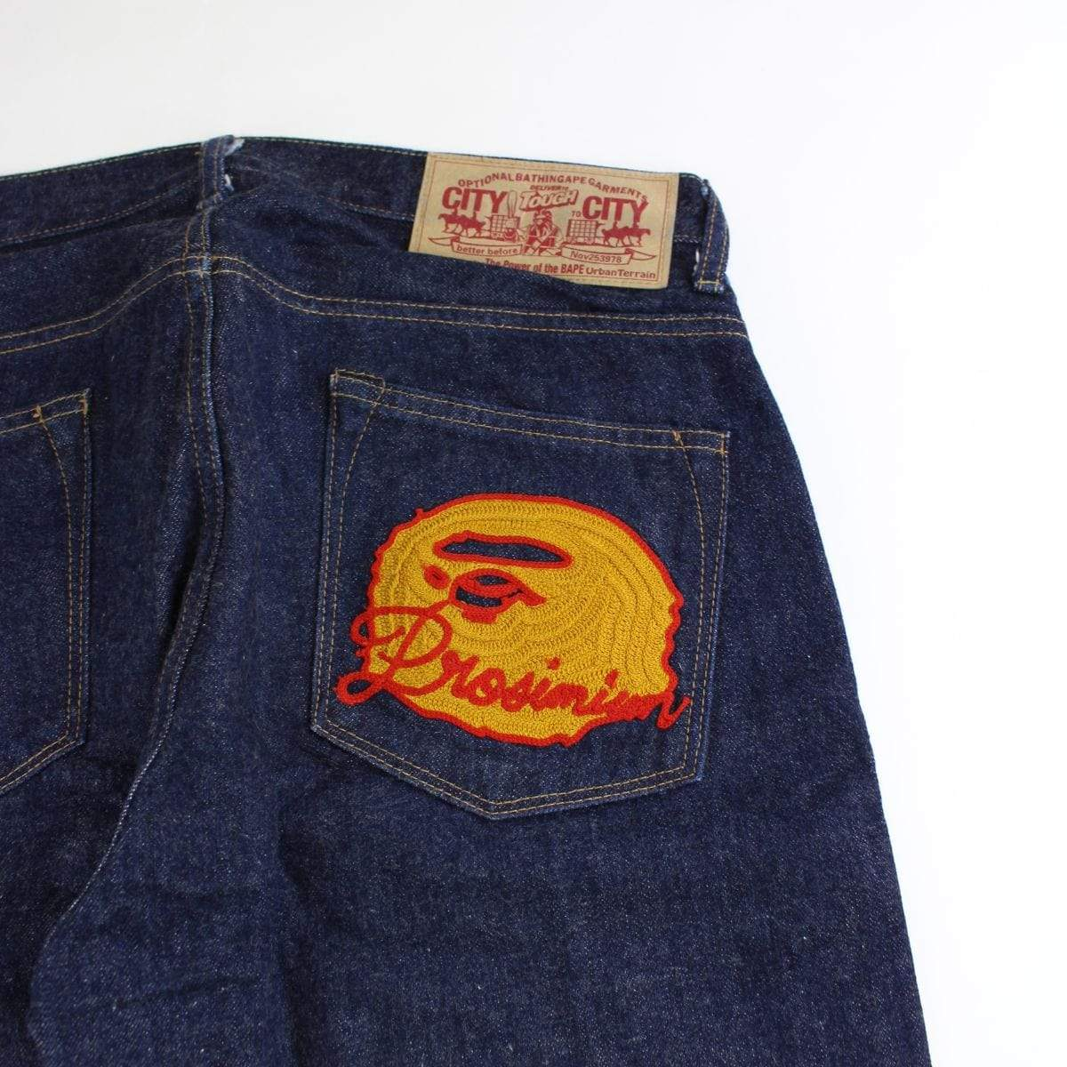 bape orange big ape denim jeans - SaruGeneral