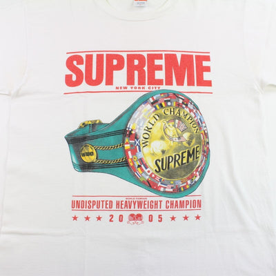 supreme heavyweight champion belt tee white 2005