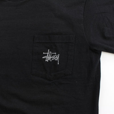 Stussy Skeleton Surfing Pocket Tee Black