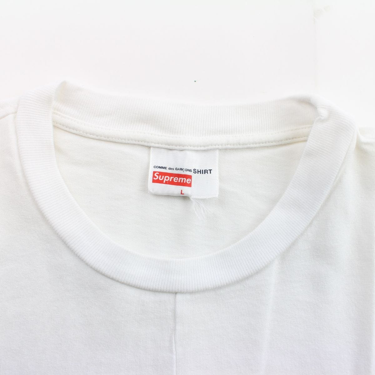 supreme x cdg split box tee white