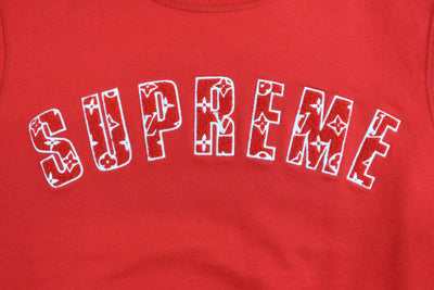 Supreme x Louis Vuitton Arc Text Crewneck Red - SaruGeneral