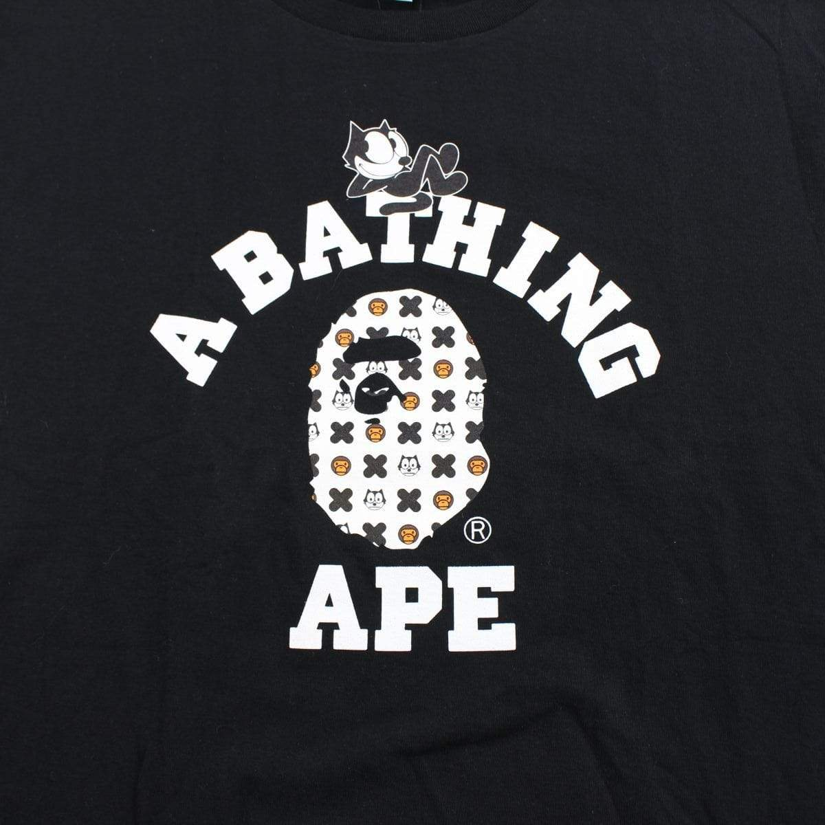 Bape x Felix the cat college logo tee black - SaruGeneral