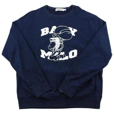 Bape Baby Milo Text Crewneck Navy