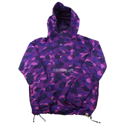 Bape Purple Camo Text Anorak