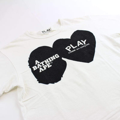 bape x cdg hearts tee white - SaruGeneral