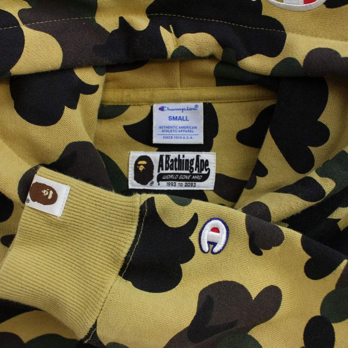 bape x champion 1st yellow camo hoodie - SaruGeneral