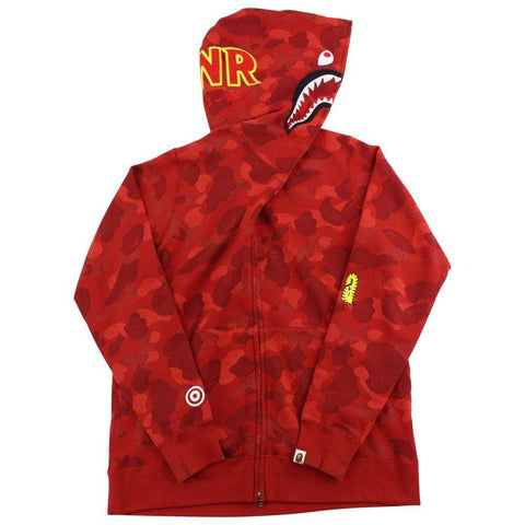 Bape Red Camo PONR Shark Hoodie Red