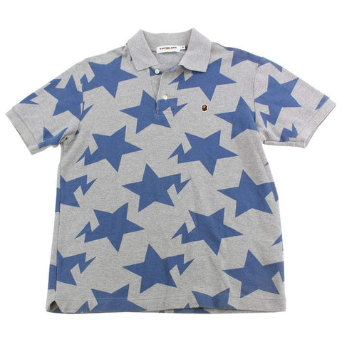 Bape Blue Bapesta All Over Print Polo Grey
