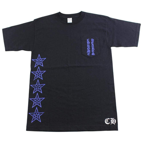 chrome hearts blue side star pocket tee black - SaruGeneral