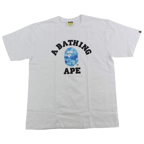 Bape ABC Blue Flame Camo College Logo Tee White