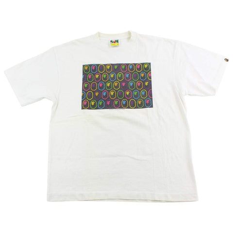 Bape Multi Neon Ape Heads Tee White