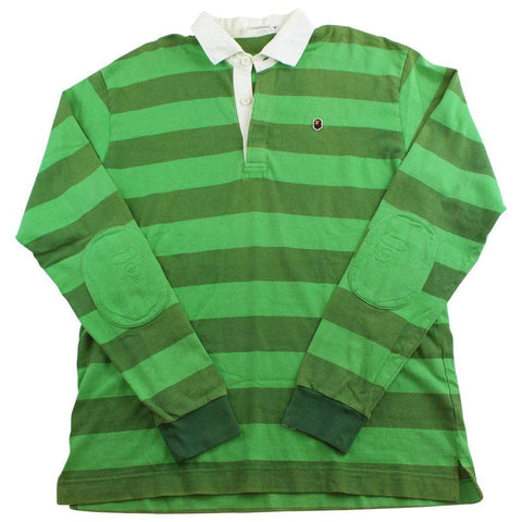 bape green stripe polo ls - SaruGeneral
