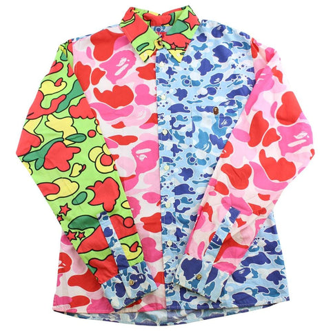 bape psyche abc pink blue camo shirt - SaruGeneral
