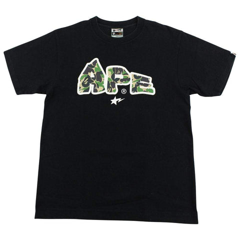 Bape ABC Green Camo Ape Text Logo Tee Black - SaruGeneral