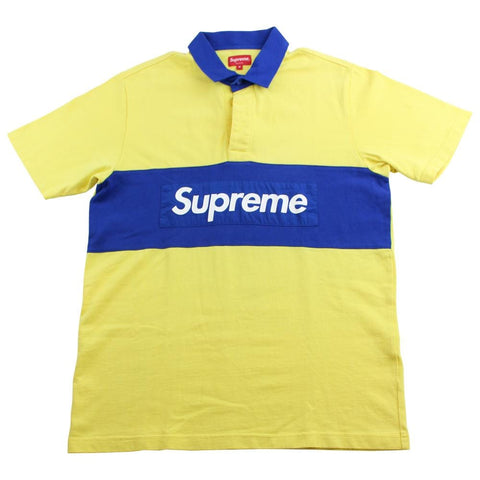 supreme blue on yellow box logo polo - SaruGeneral