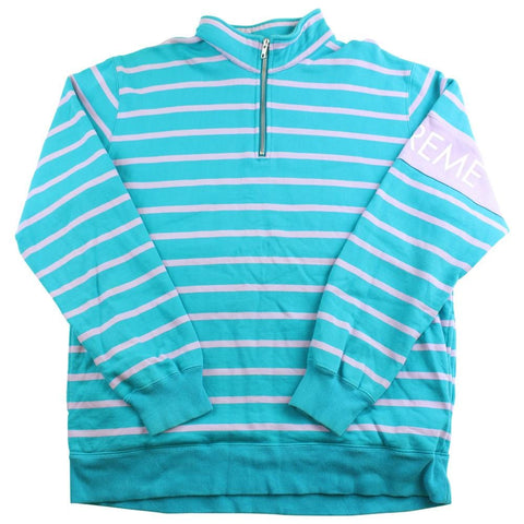 supreme 1/4 zip stripe pullover blue grey - SaruGeneral