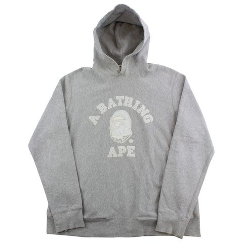 Bape White Embroided College Logo Hoodie Grey - SaruGeneral
