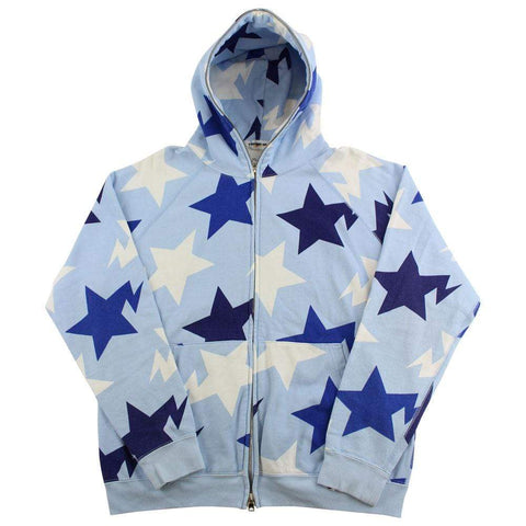 Bape Bapesta All Over Print Hoodie Baby Blue - SaruGeneral