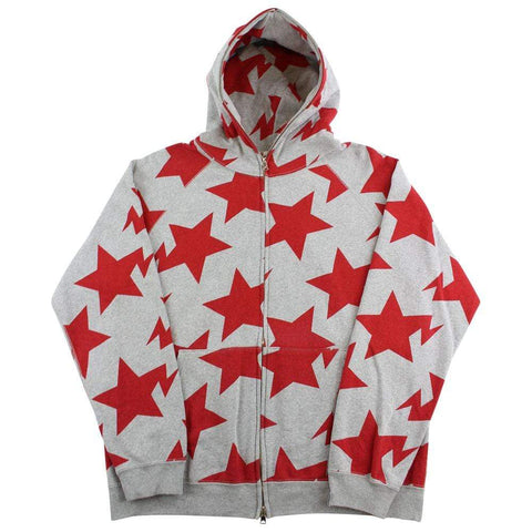 Bape Bapesta All Over Red Print Hoodie Grey - SaruGeneral