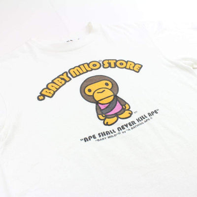bape baby milo pink generals logo tee white - SaruGeneral