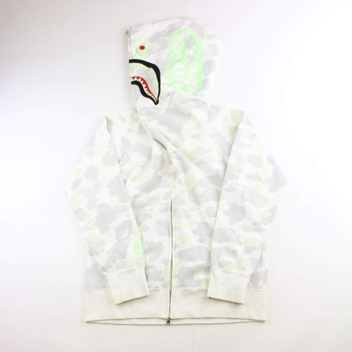 Bape White Camo Glow in the Dark Shark Hoodie