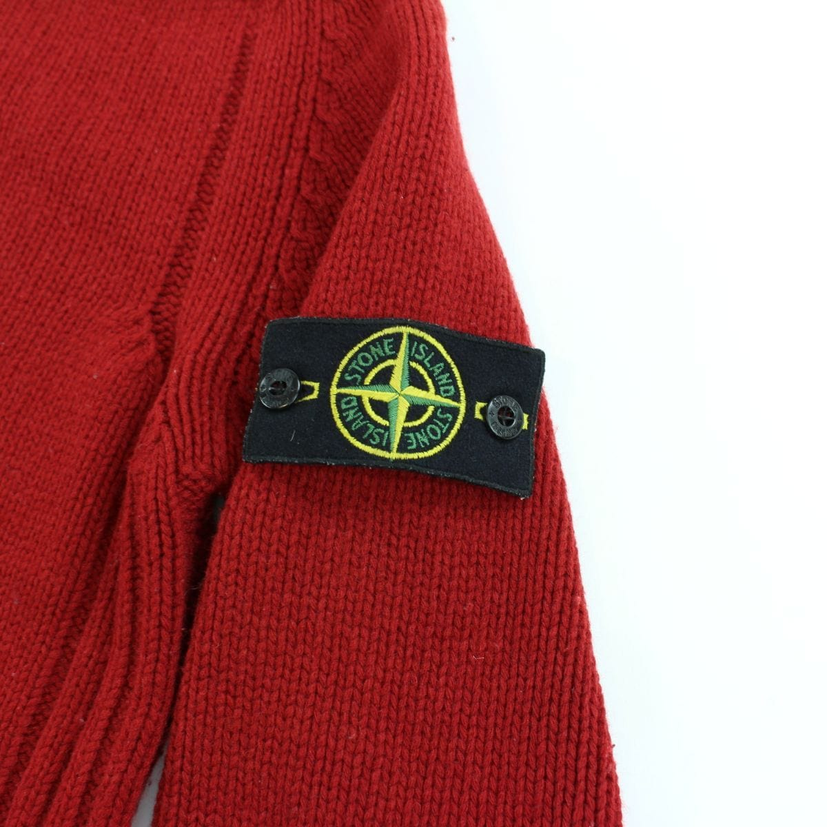 Stone Island AW 2004 Quarter Zip Knitted Jumper Red - SaruGeneral