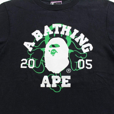 bape white college logo green milo 05 tee black