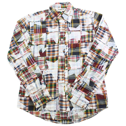 bape plaid bapesta print shirt