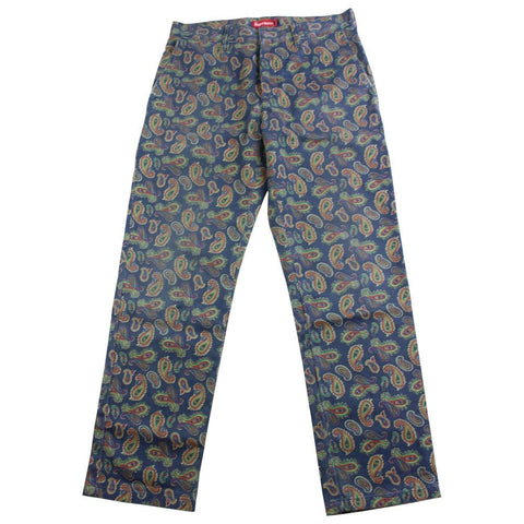 supreme paisley work pants navy - SaruGeneral