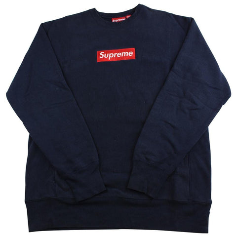 supreme red on navy box logo crewneck 1999