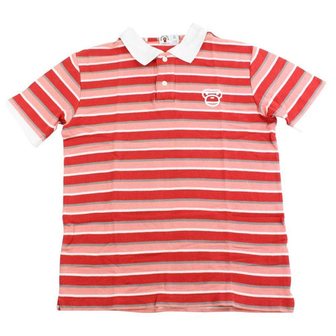 bape pink red stripe milo polo - SaruGeneral