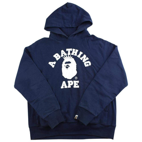 bape white nyc college logo hoodie Navy - SaruGeneral