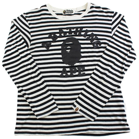 bape black stripe college logo ls