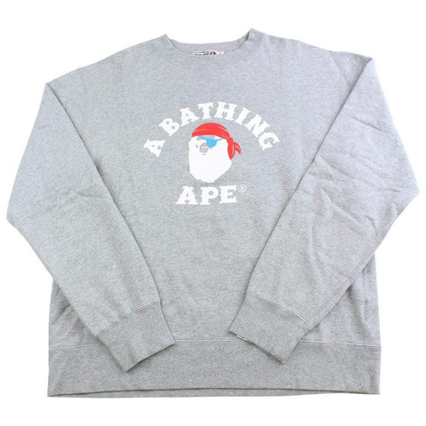 bape white pirate store college logo crewneck grey