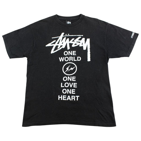 Stussy x Fragment One World Logo Tee Black - SaruGeneral