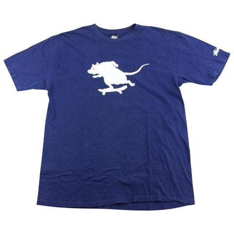 Stussy Skateboarding Rat Logo Tee Royal Blue