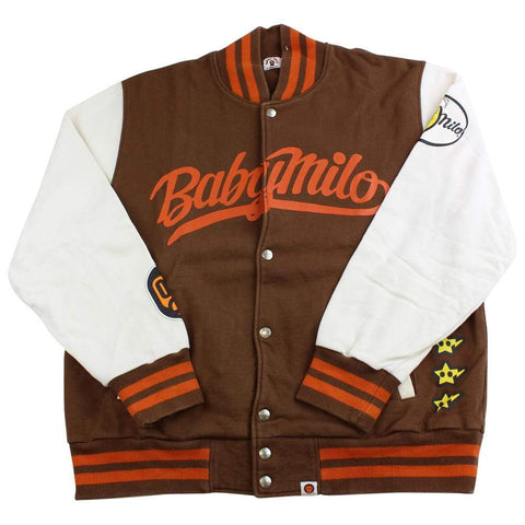 bape milo varsity brown white