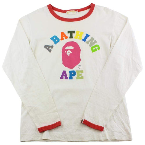 Bape Block Colours College Logo LS White - SaruGeneral