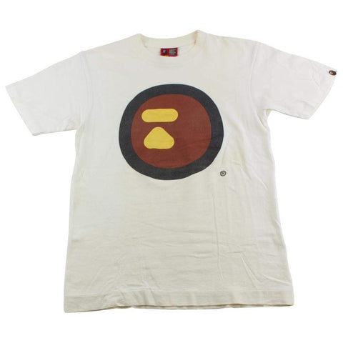 Bape Circle Logo Ape Face Tee White