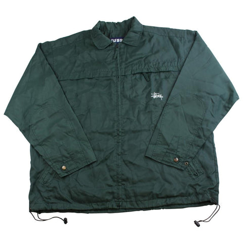 stussy track jacket green