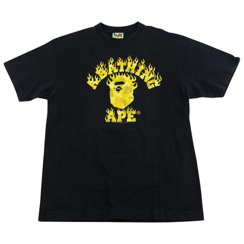 Bape Yellow Camo Flame College Logo Tee Black