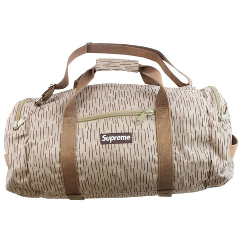 supreme rain camo duffle bag tan