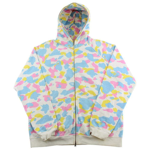 Bape Candy Camo Fullzip Hoodie White - SaruGeneral