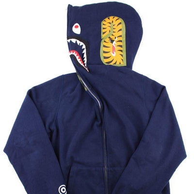 Bape 1st Green Camo Face Shark Hoodie Navy - SaruGeneral